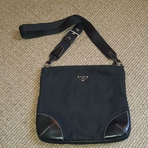 Prada tessuto black nylon & leather messenger bag